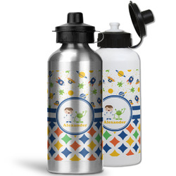 Boy's Space & Geometric Print Water Bottles- Aluminum (Personalized)