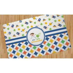 Boy's Space & Geometric Print Area Rug (Personalized)