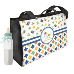 Boy's Space & Geometric Print Diaper Bag (Personalized)