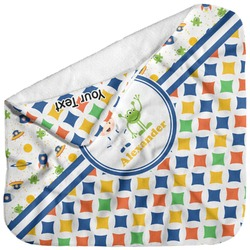 Boy's Space & Geometric Print Baby Hooded Towel (Personalized)
