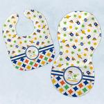 Boy's Space & Geometric Print Baby Bib & Burp Set w/ Name or Text