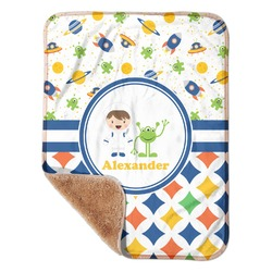"Boy's Space & Geometric Print Sherpa Baby Blanket 30"" x 40"" (Personalized)"