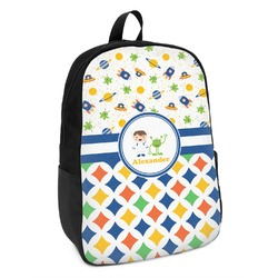 Boy's Space & Geometric Print Kids Backpack (Personalized)