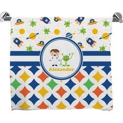 Boy's Space & Geometric Print Full Print Bath Towel (Personalized)