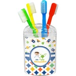 Boy's Space & Geometric Print Toothbrush Holder (Personalized)