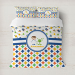 Boy's Space & Geometric Print Duvet Cover (Personalized)