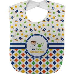 Boy's Space & Geometric Print Baby Bib (Personalized)