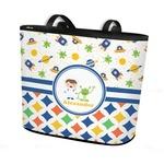 Boy's Space & Geometric Print Bucket Tote w/ Genuine Leather Trim (Personalized)