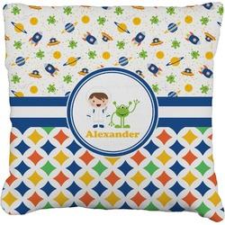 Boy's Space & Geometric Print Faux-Linen Throw Pillow (Personalized)