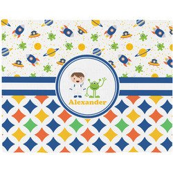 Boy's Space & Geometric Print Placemat (Fabric) (Personalized)