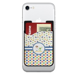 Boy's Space & Geometric Print 2-in-1 Cell Phone Credit Card Holder & Screen Cleaner (Personalized)