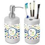 Boy's Space & Geometric Print Bathroom Accessories Set (Ceramic) (Personalized)