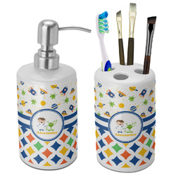 Boy's Space & Geometric Print Bathroom Accessories Set (Ceramic) (Personalized)