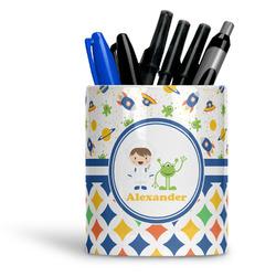 Boy's Space & Geometric Print Ceramic Pen Holder