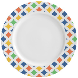 Boy's Space & Geometric Print Ceramic Dinner Plates (Set of 4) (Personalized)