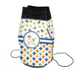 Boy's Space & Geometric Print Neoprene Drawstring Backpack (Personalized)