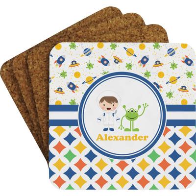Boy's Space & Geometric Print Coaster Set w/ Stand (Personalized)