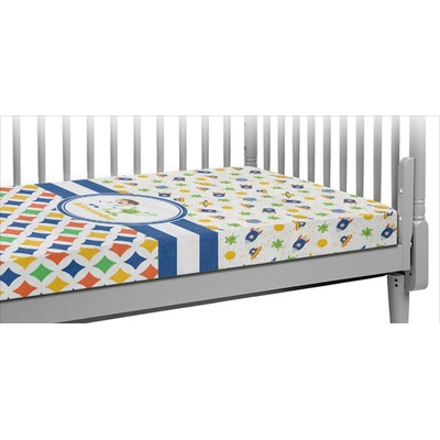 Boy's Space & Geometric Print Crib Fitted Sheet (Personalized)