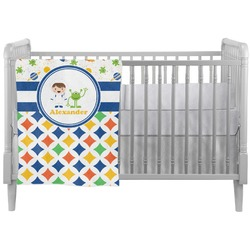 Boy's Space & Geometric Print Crib Comforter / Quilt (Personalized)
