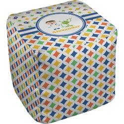 Boy's Space & Geometric Print Cube Pouf Ottoman (Personalized)