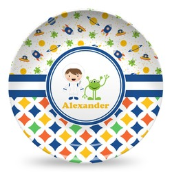 Boy's Space & Geometric Print Microwave Safe Plastic Plate - Composite Polymer (Personalized)