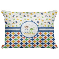 "Boy's Space & Geometric Print Decorative Baby Pillowcase - 16""x12"" (Personalized)"