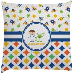 Boy's Space & Geometric Print Decorative Pillow Case (Personalized)