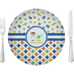 Boy's Space & Geometric Print Dinner Plate (Personalized)