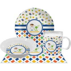 Boy's Space & Geometric Print Dinner Set - 4 Pc (Personalized)