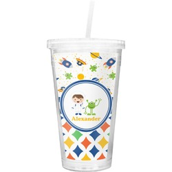 Boy's Space & Geometric Print Double Wall Tumbler with Straw (Personalized)