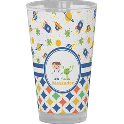 Boy's Space & Geometric Print Drinking / Pint Glass (Personalized)