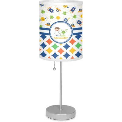 """Boy's Space & Geometric Print 7"""" Drum Lamp with Shade (Personalized)"""