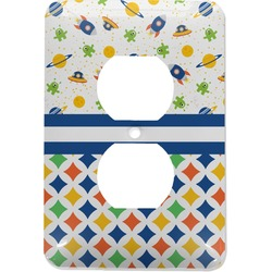 Boy's Space & Geometric Print Electric Outlet Plate (Personalized)