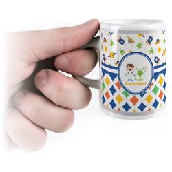 Boy's Space & Geometric Print Espresso Mug - 3 oz (Personalized)
