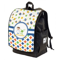 Boy's Space & Geometric Print Backpack w/ Front Flap  (Personalized)