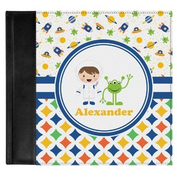 Boy's Space & Geometric Print Genuine Leather Baby Memory Book (Personalized)