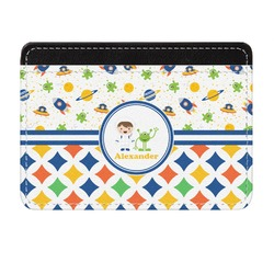 Boy's Space & Geometric Print Genuine Leather Front Pocket Wallet (Personalized)