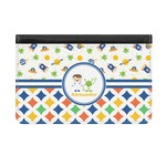 Boy's Space & Geometric Print Genuine Leather ID & Card Wallet - Slim Style (Personalized)