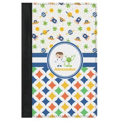 Boy's Space & Geometric Print Genuine Leather Passport Cover (Personalized)