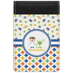 Boy's Space & Geometric Print Genuine Leather Small Memo Pad (Personalized)