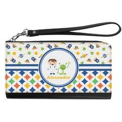Boy's Space & Geometric Print Genuine Leather Smartphone Wrist Wallet (Personalized)