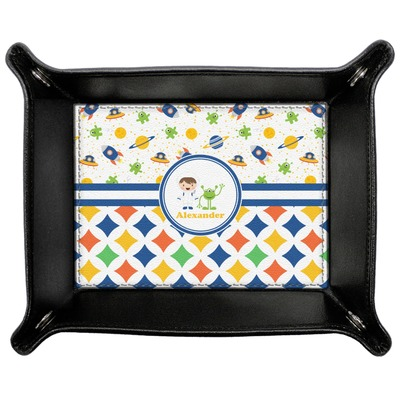Boy's Space & Geometric Print Genuine Leather Valet Tray (Personalized)