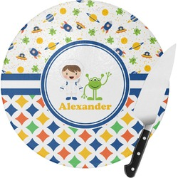 Boy's Space & Geometric Print Round Glass Cutting Board (Personalized)