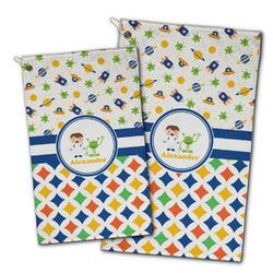Boy's Space & Geometric Print Golf Towel - Full Print w/ Name or Text