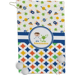 Boy's Space & Geometric Print Golf Towel - Full Print (Personalized)