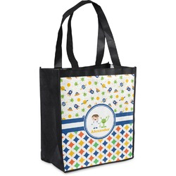 Boy's Space & Geometric Print Grocery Bag (Personalized)