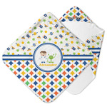 Boy's Space & Geometric Print Hooded Baby Towel (Personalized)