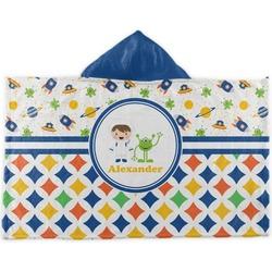 Boy's Space & Geometric Print Kids Hooded Towel (Personalized)