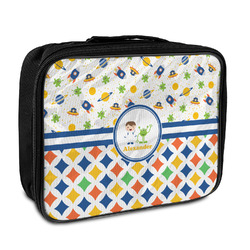 Boy's Space & Geometric Print Insulated Lunch Bag (Personalized)