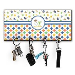 Boy's Space & Geometric Print Key Hanger w/ 4 Hooks (Personalized)